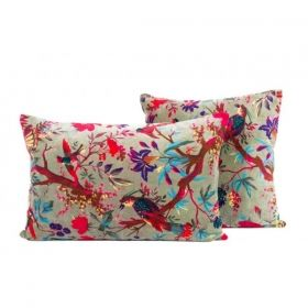 CUSHION COVER VELVET BIRDY CELADON