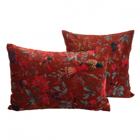 CUSHION COVER VELVET BIRDY  ARGILE