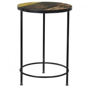 Bronze and Gold Effect Glass Top Side Table
