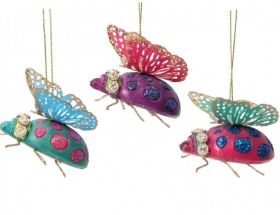 Resin Decoration (4cm) - Ladybirds with Metal Wings, 3 colors