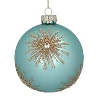 GLASS BAUBLE - TURQUOISE/GOLD BEAD STARBURST