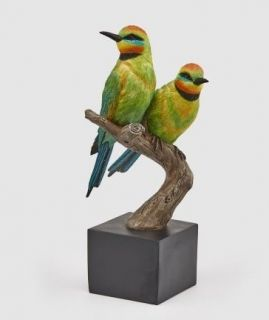 SET OF 2 BIRDS ON A STAND - GREEN YELLOW