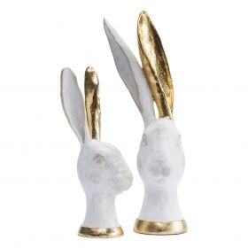WHITE AND GOLD HARES – SET OF 2