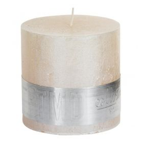 Metallic cream block candle 10x10
