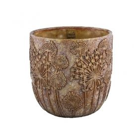 Azura gold cement pot flower round big s